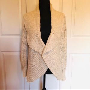 DKNY Chunky Knit Open Front Sweater Ivory M
